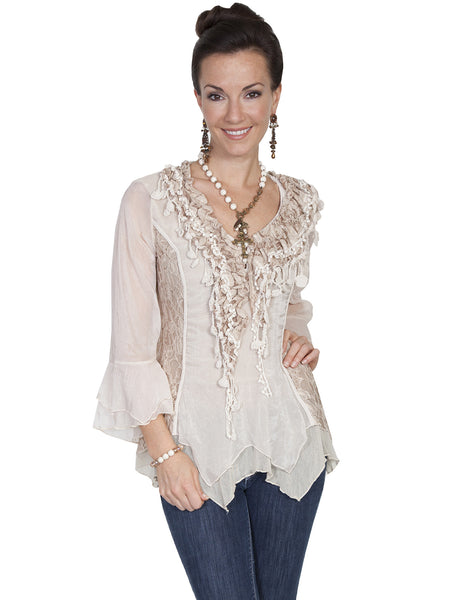 Honey Creek Romantic Lace Top, 3/4 Sleeves, Double Ruffle Cuffs, Natural, Front S-XL