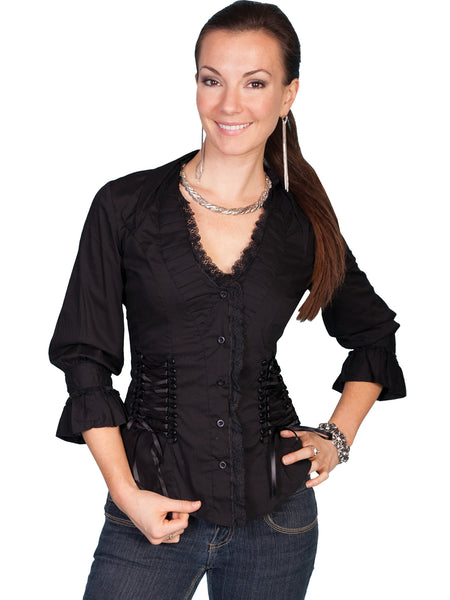 Scully Honey Creek 3/4 Sleeve, Retro Peasant Top Black Front S-2XL