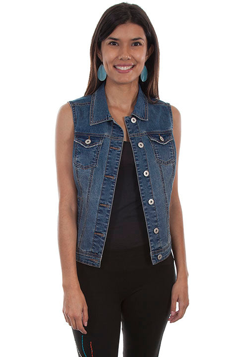 Scully Honey Creek Ladies' Denim Vest with Braided Tie on Reverse Front