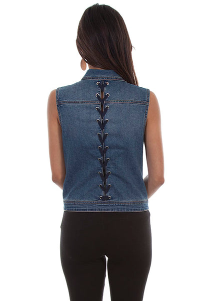 Scully Honey Creek Ladies' Denim Vest with Braided Tie on Reverse Back