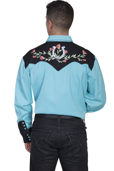 Vintage Inspired Western Shirt Mens Scully Lucky Roses S-4XL