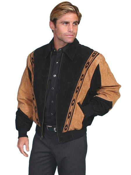 Scully Men's Two Tone Boar Suede Zip Front Jacket Black Tan