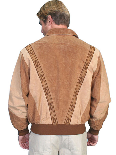Scully Men's Leather Suede Zip Front Jacket Cafe Brown and Caramel Front