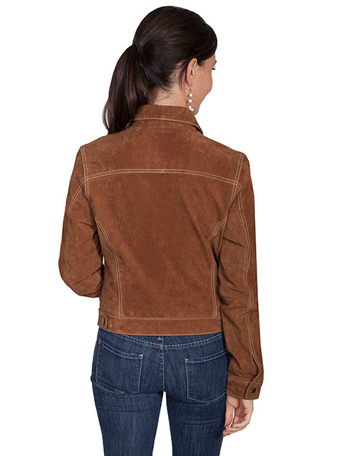 Scully Women's Suede Jean Jacket Cafe Brown Back View