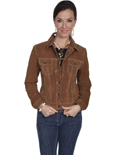 Scully Women's Suede Jean Jacket Cafe Brown Front View