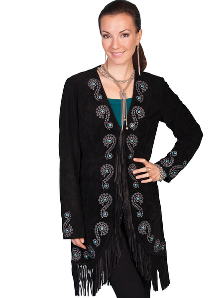 Scully Women's Suede Coat with Embroidery, Studs, Turquoise Accents Black Front View