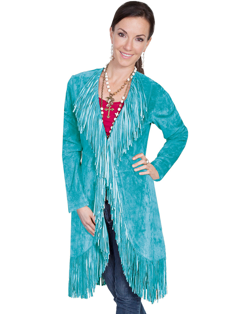 Scully Women's Western Maxi Coat with Abundant Fringe Turquoise Front