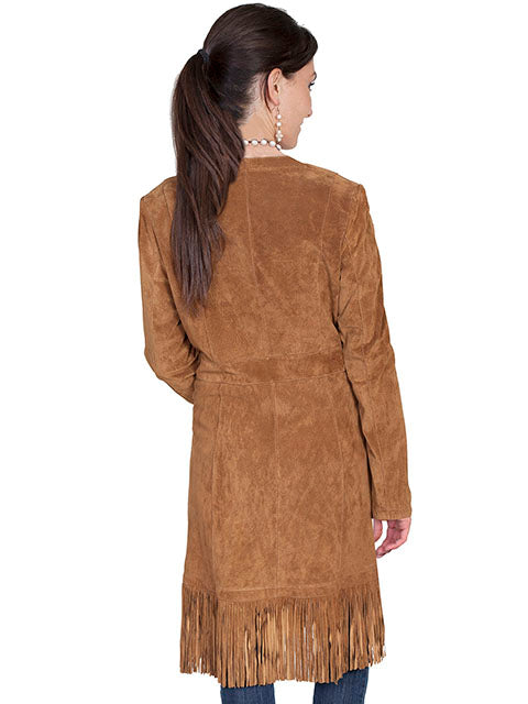 Scully Women's Western Maxi Coat with Abundant Fringe Cinnamon Back