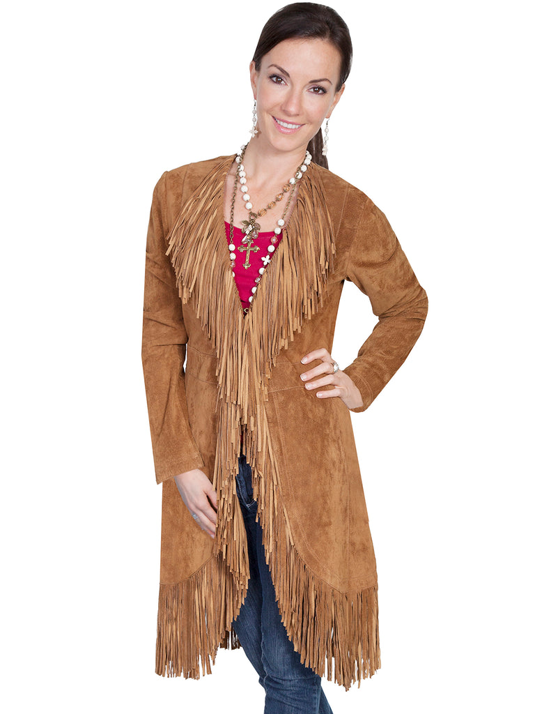 Scully Women's Western Maxi Coat with Abundant Fringe Cinnamon Front