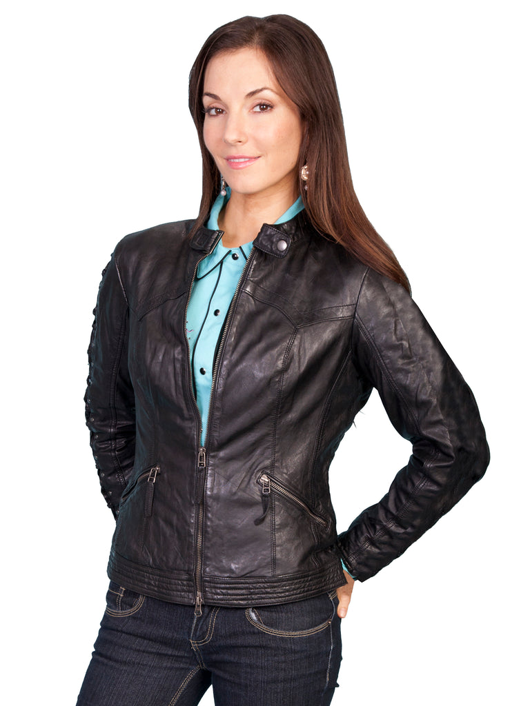 Scully Women's Lamb Jacket with Lacing on Sleeves, Zip Front, Black, Side