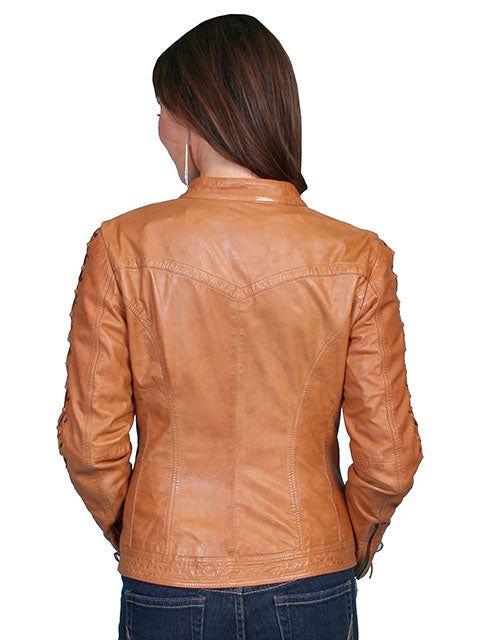 Scully Women's Lamb Jacket with Lacing on Sleeves, Zip Front, Saddle Tan Back