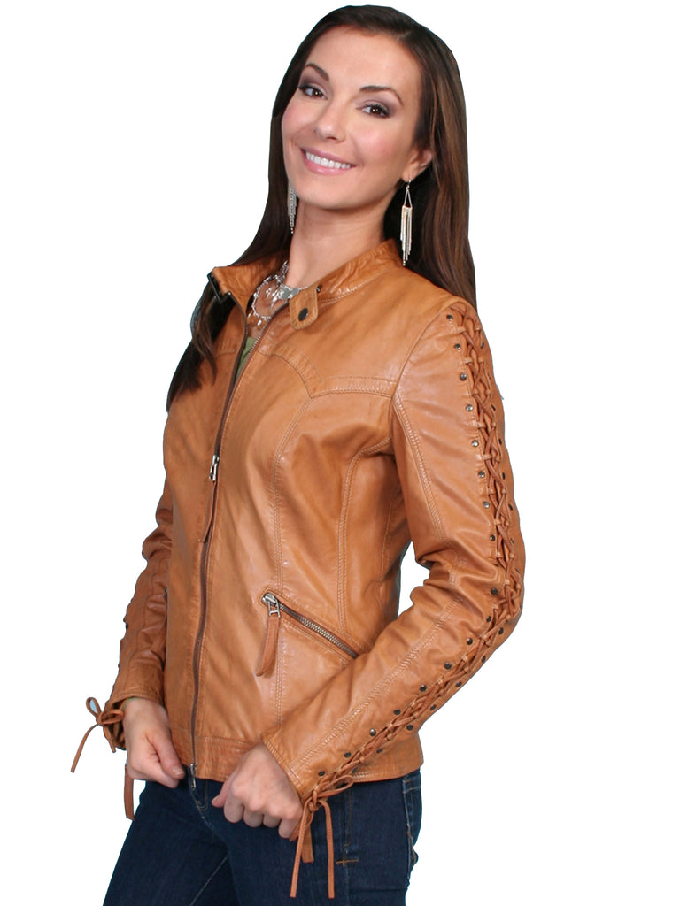 Scully Women's Lamb Jacket with Lacing on Sleeves, Zip Front, Saddle Tan, Side
