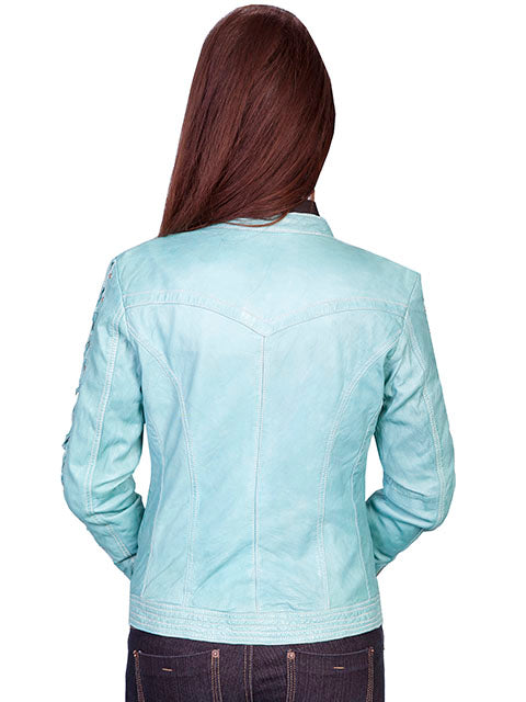 Scully Women's Lamb Jacket with Lacing on Sleeves, Zip Front, Blue River, Back