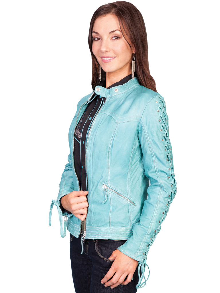 Scully Women's Lamb Jacket with Lacing on Sleeves, Zip Front, Blue River, Side