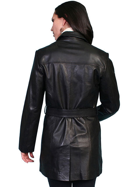 Scully Women's Leather Belted Car Coat Black, Back