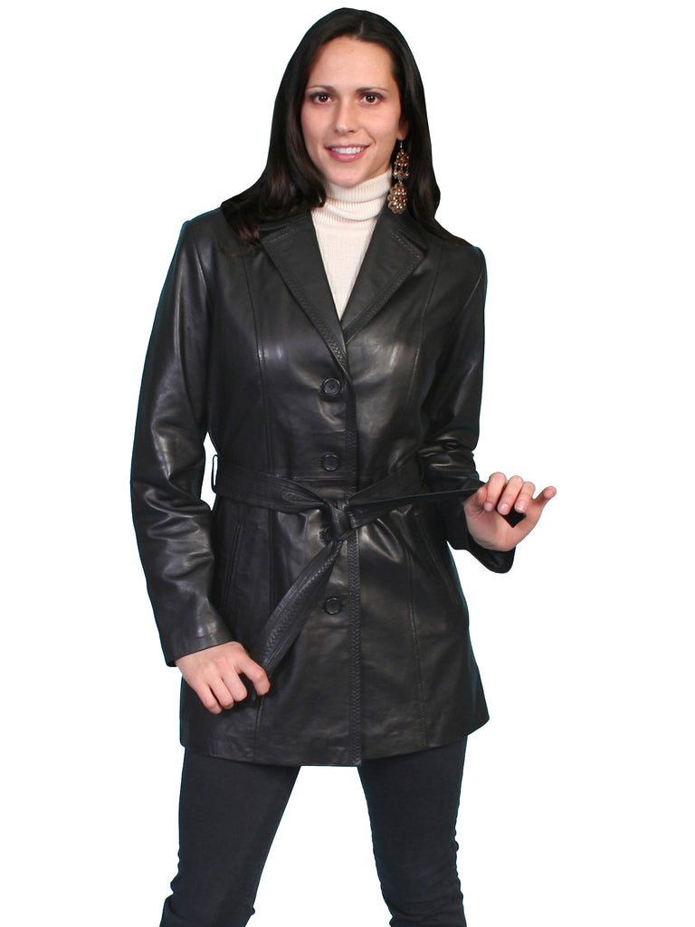 Scully Women's Leather Belted Car Coat Black, Front View