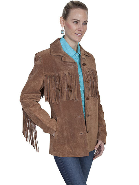 Scully Womens Suede Jacket with Fringe Cinnamon Side View
