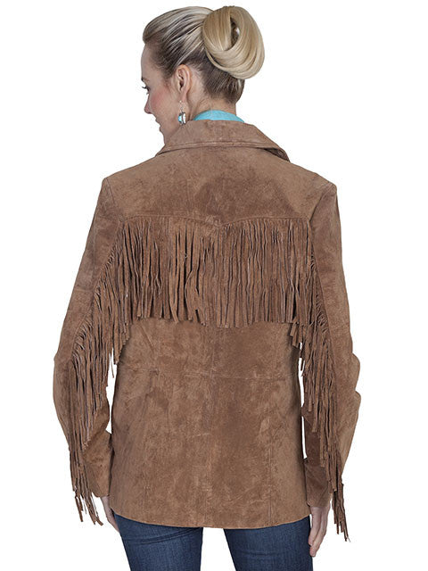 Scully Womens Suede Jacket with Fringe Cinnamon Back View