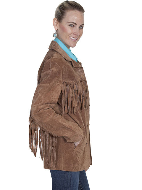 Scully Womens Suede Jacket with Fringe Cinnamon Front Sleeve View