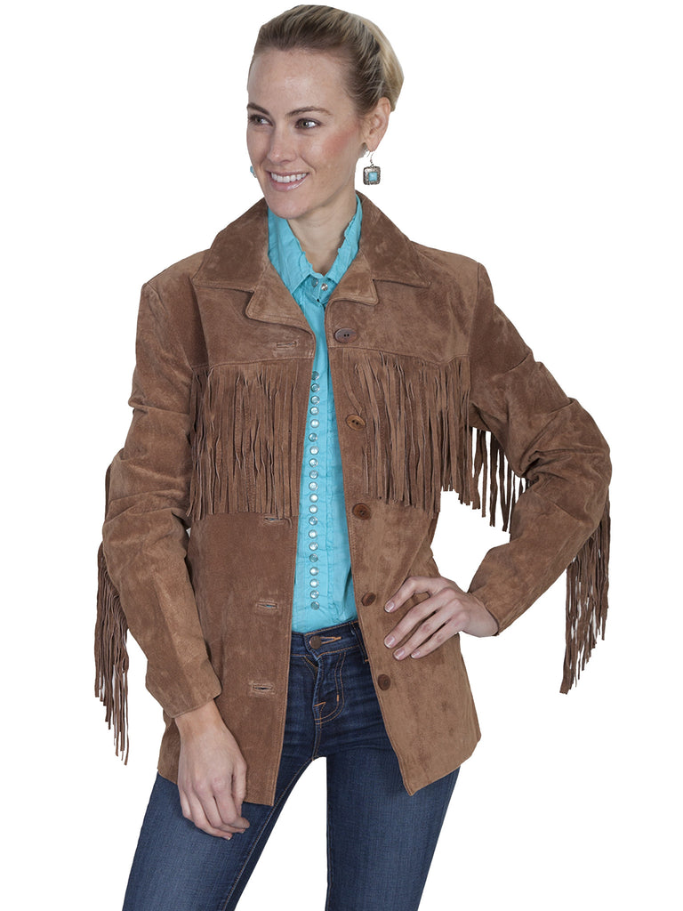 Scully Women's Suede Jacket with Fringe Cinnamon Front