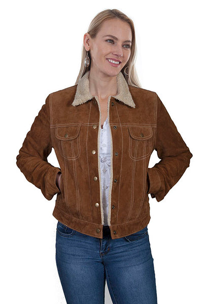 Scully Ladies' Leather Jean Jacket with Shearling Lining Old Rust Front