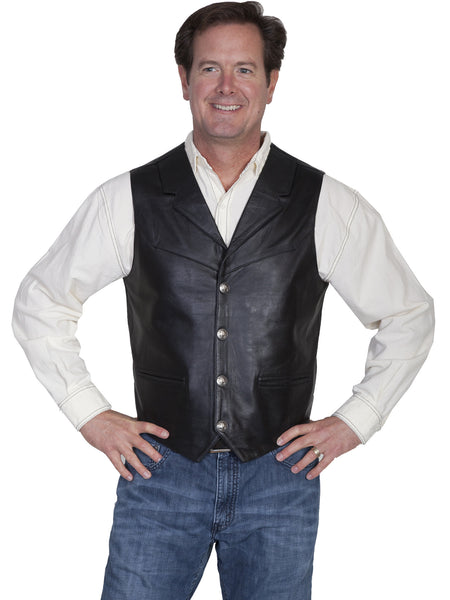 Scully Men's Western Lambskin Vest with Lapels, Snaps, Black Front View