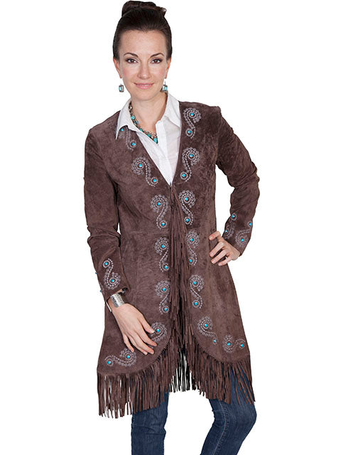 Scully Women's Suede Coat with Embroidery, Studs, Turquoise Accents Exspresso Front View