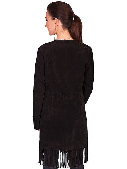 Scully Women's Suede Coat with Embroidery, Studs, Turquoise Accents Black Back View