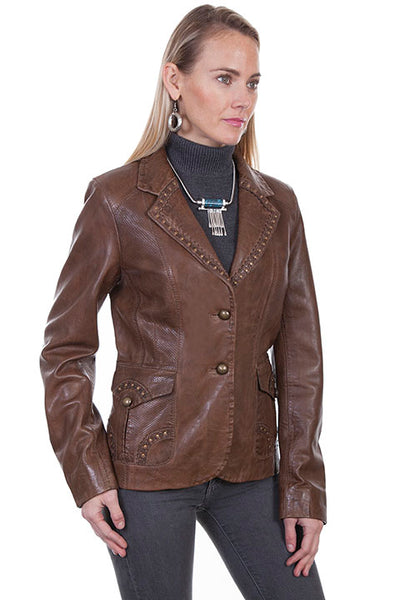 Scully Ladies' Leather Blazer Jacket with Laser Cut Out Details Front