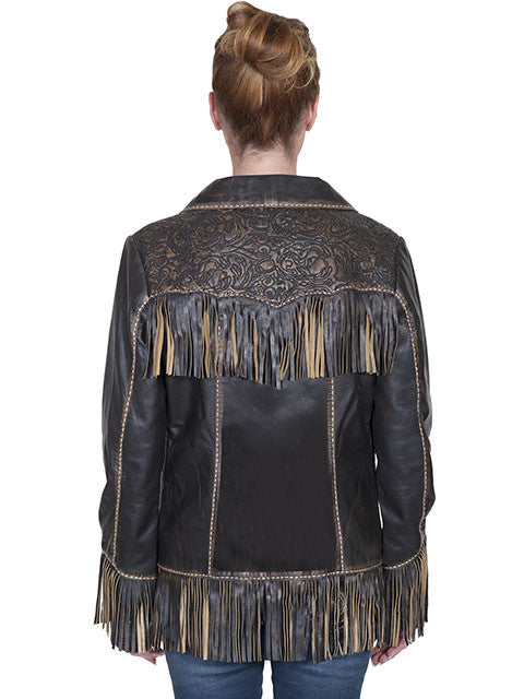 Scully Womens Western Fringe and Tooled Jacket, Brown, Back View