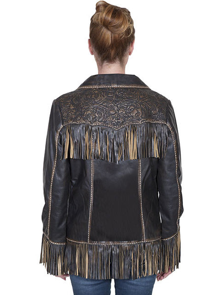 Scully Womens Western Fringe and Tooled Jacket, Brown, Front View