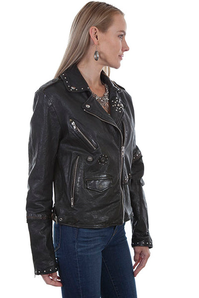 Scully Women's Leather Motorcycle Style Jacket with Stud Details Front