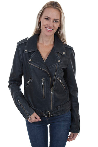 Scully Women's Leather Motorcycle Style Jacket with Zippers Front