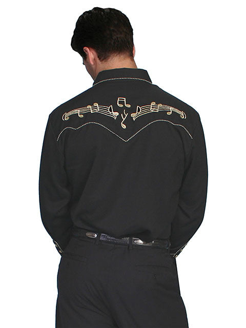 Men/'s Scully Music Note Embroidered Western Cowboy Rodeo Retro Snap Shirt Black