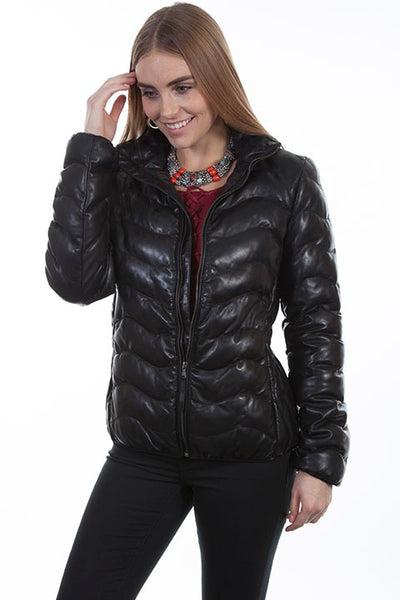 Scully Ladies' Leather Ribbed Jacket Black Front