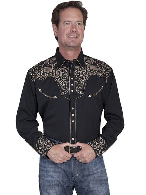 Vintage Inspired Western Shirt Mens Scully Scroll Tan S-4XL