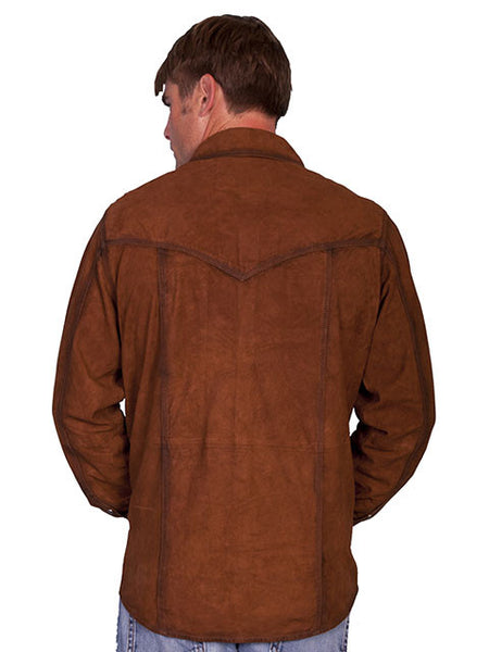 Scully Mens Western Suede Pearl Snap Front Shirt, Brown, M-2X Front View