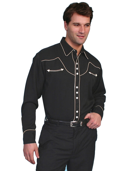 Vintage Inspired Western Shirt Mens Scully Classic Trim Black Front S-2XL