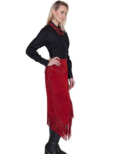 Scully Women's Western Wrap Skirt with Fringe, Red Side