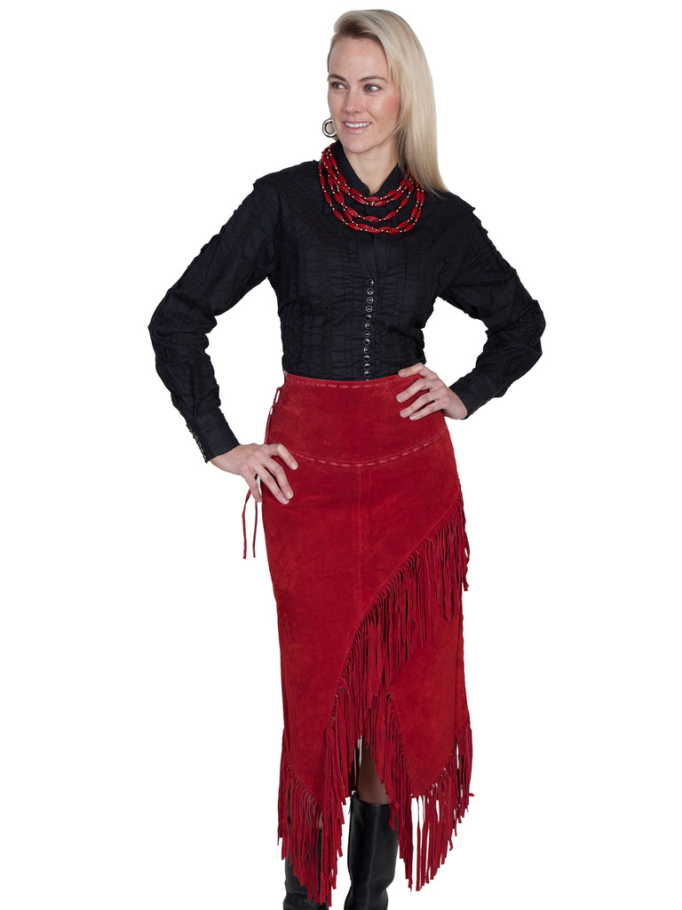 Scully Women's Western Wrap Skirt with Fringe, Red Front