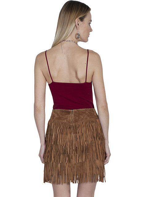 Scully Leather Mini Suede Fringe Skirt Cinnamon Back