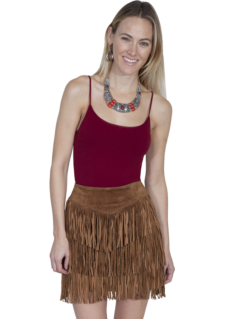 Scully Leather Mini Suede Fringe Skirt Cinnamon Front