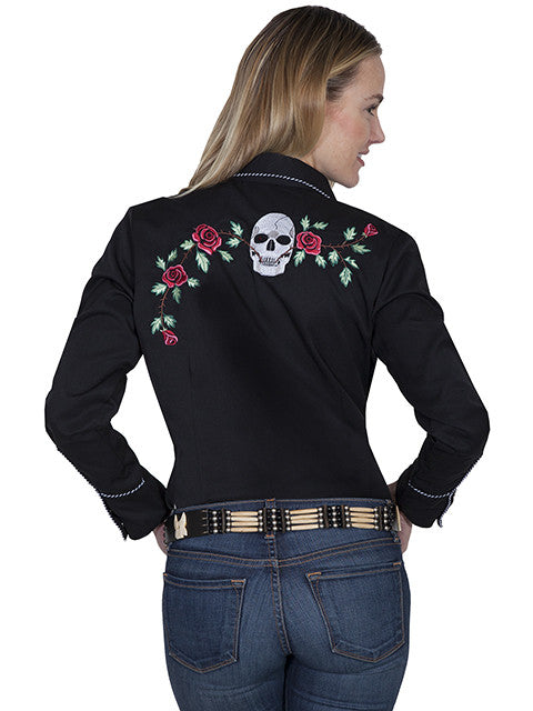 Vintage Inspired Western Shirt Ladies Scully Skulls and Roses Back S-XL