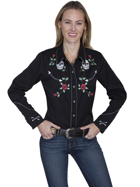 Vintage Inspired Western Shirt Ladies Scully Skulls and Roses S-XL