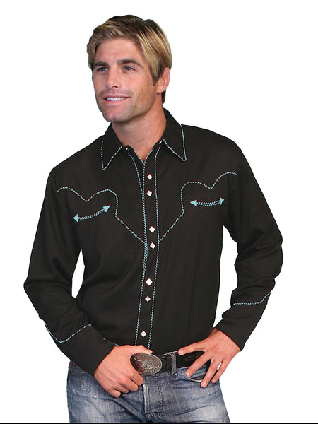 Vintage Western Shirt Mens Scully Turquoise Trim Black S-4XL
