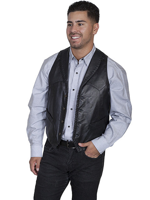 Mens Scully Leather Vest Whip Stitch Lapels Black 3Q View