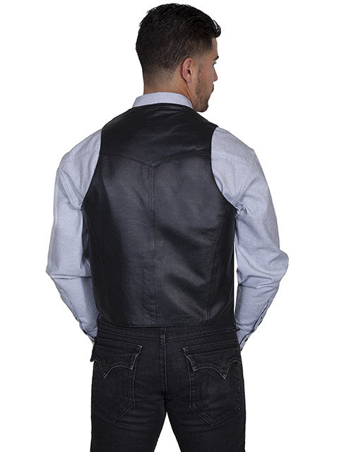 Mens Scully Leather Vest Whip Stitch Lapels Black Back View