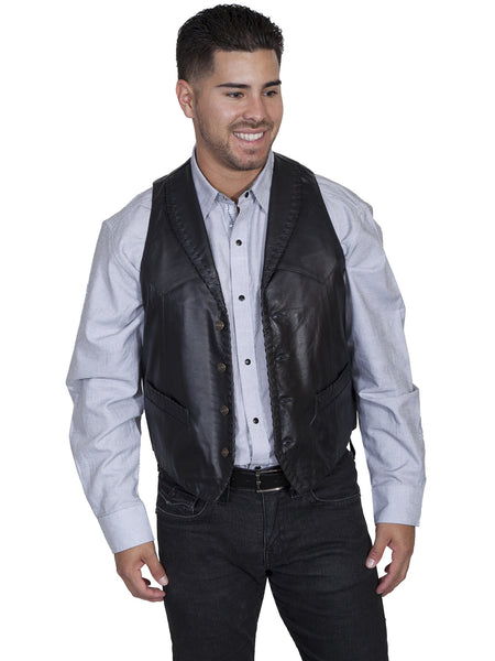 Mens Scully Leather Vest Whip Stitch Lapels Black Front View