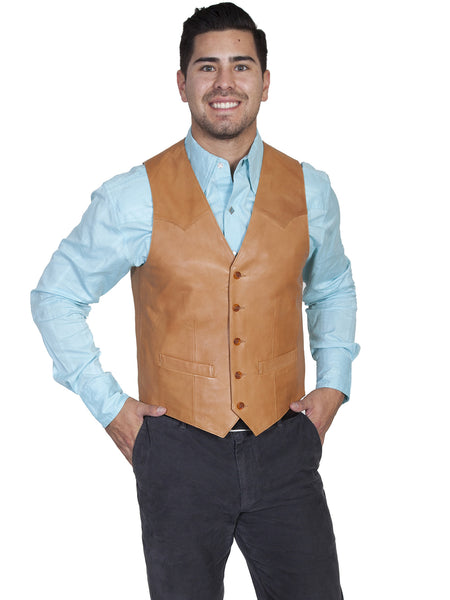 Scully Mens Western Vest Lamb w Button Front, Ranch Tan Front View