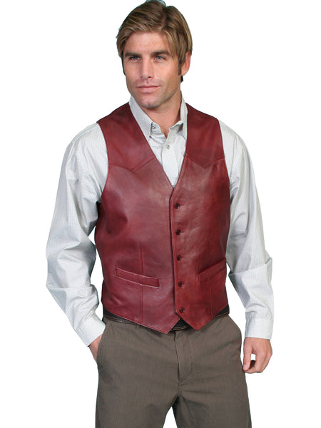 Men's Leather Vest Collection: Scully Western Lambskin, Button Front, Black Cherry